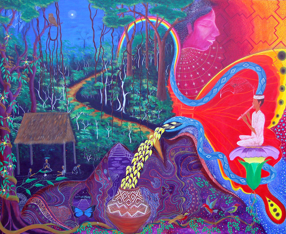 Shipibo Visionary Painting by film collaborator Reshin Bima